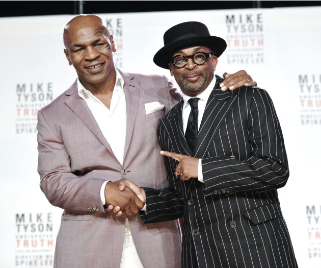 "Former heavyweight boxer Mike Tyson, left, and director Spiken Lee announce ""Mike Tyson: Undisputed Truth"", a one man show on Broadway starring Mike Tyson, on Monday June 18, 2012 in New York. (Photo"