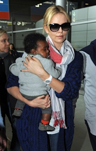 Actress Charlize Theron and her adopted son, Jackson.
