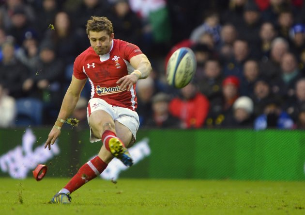 Wales' Halfpenny scores a penalty against Scotland during their six nations rugby union match in Edinburgh