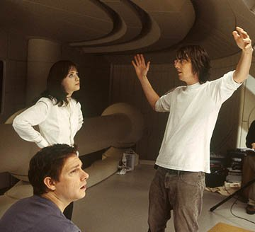 Zooey Deschanel , Martin Freeman and director Garth Jennings on the set of Touchstone Pictures' The Hitchhiker's Guide to the Galaxy