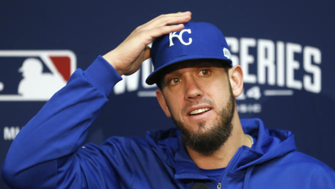 Kansas City Royals starting pitcher James Shields listens to a question during a news conference at Kauffman Stadium in Kansas City, Mo., Monday, Oct. 20, 2014. The Kansas City Royals will host the San Francisco Giants in Game 1 of the World Series on Oct. 21. (AP Photo/Orlin Wagner)