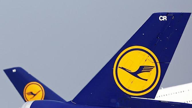 The tails of German air carrier Lufthansa aircraft are seen at Fraport airport in Frankfurt