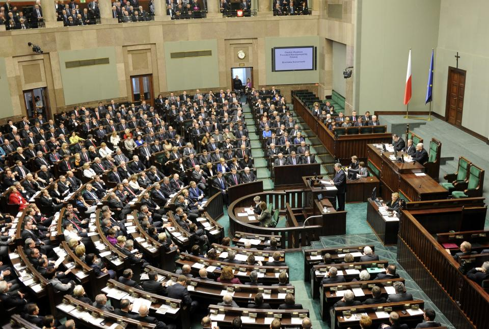 A general view of the new Polish Parliament during its first session, in Warsaw, Poland, Tuesday, Nov. 8, 2011. (AP Photo/Alik Keplicz)