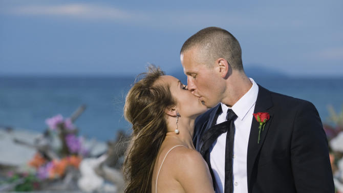 "FILE - In this publicity file photo provided by ABC, Ashley Hebert, left, kisses J.P. Rosenbaum on the season finale of ""The Bachelorette"" in Fiji. Hebert got hitched over the weekend in California to J.P. Rosenbaum of Long Island, who proposed to her on the seventh season of the ABC dating reality show. Natalia Desrosiers, spokeswoman for Warner Bros. Television, which produces the show, said the wedding will be aired on Dec. 16 on ABC. (AP Photo/ABC, Matt Klitscher, File)"