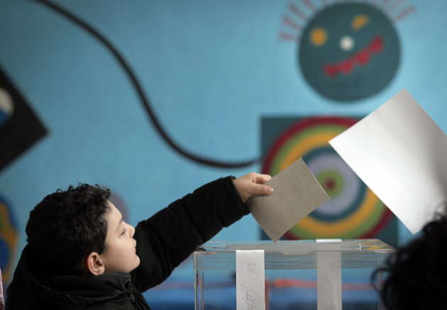 <p>               A Bulgarian child casts his parents vote for a referendum on the construction of a nuclear power plant in Bulgaria, Sofia, Sunday, Jan. 27, 2013. Bulgarians are voting in a referendum on whether a new nuclear power plant should be built in the European Union's poorest member country, a choice also seen as a barometer of the country's relationship with Russia. (AP Photo/Valentina Petrova)