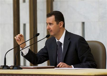 Syria's President Bashar al-Assad heads the plenary meeting of the central committee of the ruling al-Baath party, in Damascus