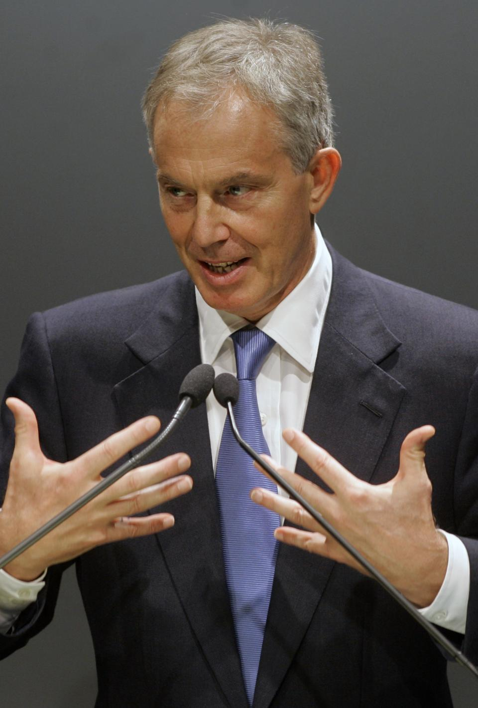 Former British Prime Minister Tony Blair delivers a speech during a lecture with students about education at a university in Sao Paulo, Brazil, Tuesday, Oct. 26, 2010. (AP Photo/Nelson Antoine)