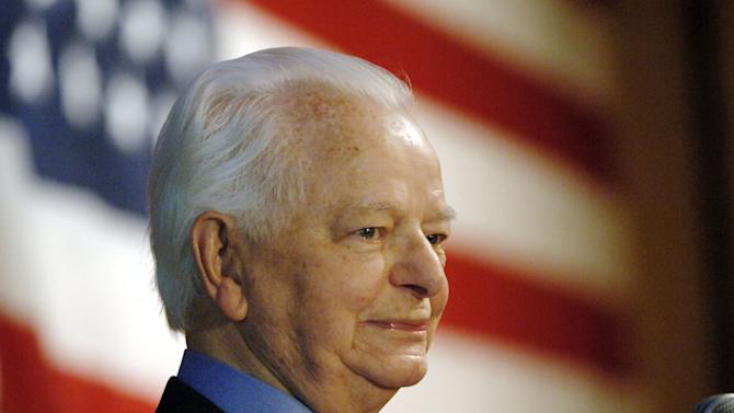FILE - This Tuesday Nov. 7, 2006 file photo shows the late U.S. Sen. Robert C. Byrd, D-W.Va., as he speaks upon winning his ninth term, in Charleston, W.Va.  Byrd created a stir in the mid-1960s within the nation's intelligence community when he obtained secret FBI reports leaked by the CIA. (AP Photo/Jeff Gentner, File)