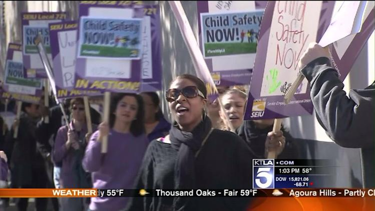 L.A. Social Workers Protest High Caseloads, Go on Strike