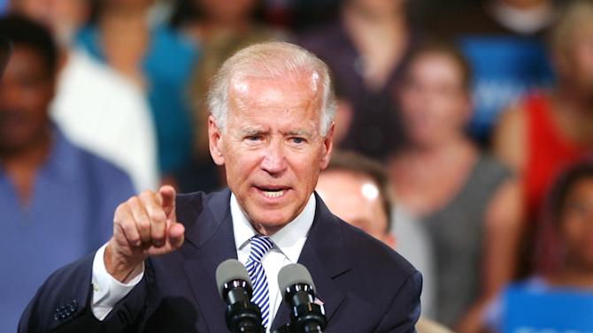 Vice President Joe Biden speaks to a crowd at the Durham Armory on Monday, Aug. 13, 2012 in Durham, N.C.  (AP Photo/The Herald-Sun, Melissa Melvin-Rodriguez)