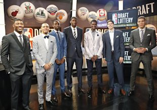 From left, NBA draft prospects Marcus Smart of Oklahoma State, Tyler Ennis of Syracuse, Andrew Wiggins and Joel Embiid of Kansas, Noah Vonleh of India...