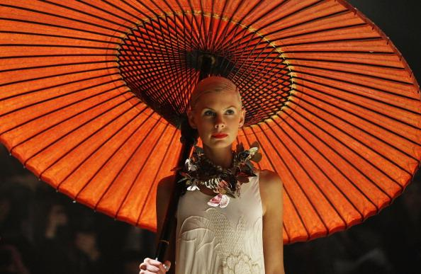 A model showcases designs by Akira on the catwalk as part of Mercedes Benz Fashion Festival Sydney 2012 at Sydney Town Hall on August 23, 2012 in Sydney, Australia. (Photo by Don Arnold/Getty Images)