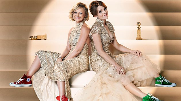 Amy Poehler, left, and Tina Fey get ready to host the Golden Globes