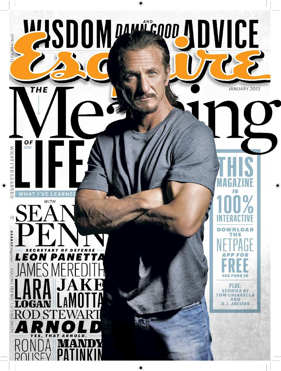 "This magazine cover image released by Esquire shows actor and activist Sean Penn on the cover of the January 2013 issue of ""Esquire.""  The issue will be available nationwide on Dec. 18. (AP Photo/Esquire)"