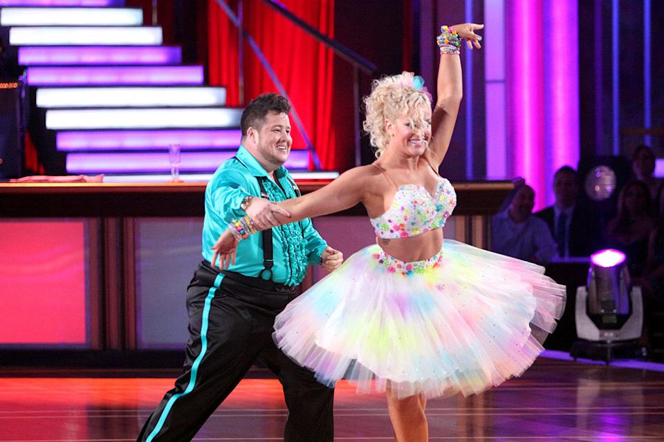 "Lacey Schwimmer and Chaz Bono perform on ""Dancing With the Stars."""