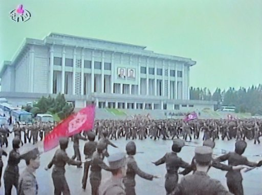 "<p>A screen grab taken from North Korean TV on Wednesday shows North Korean soldiers dancing in a plaza after an announcement of North Korean leader Kim Jong-Un's new title of 'Marshal' in Pyongyang. North Korea said Friday it had no choice but to ""completely review"" the nuclear issue after accusing the United States and South Korea over a plot to blow up a statue of its founding leader.</p>"