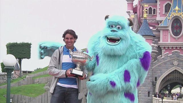 Nadal celebrates eighth French Open win at Disneyland.
