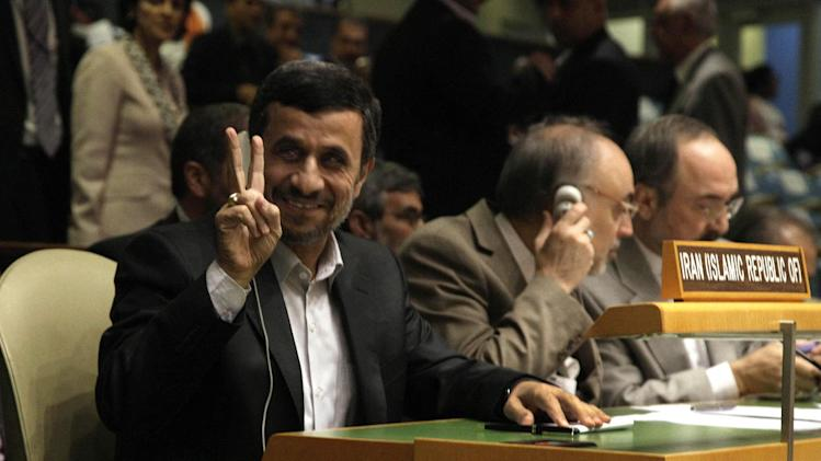 Iran's President Mahmoud Ahmadinejad gestures as he attends the high level meeting on rule of law in the United Nations General Assembly, at U.N. headquarters Monday, Sept. 24, 2012. (AP Photo/Richard Drew)