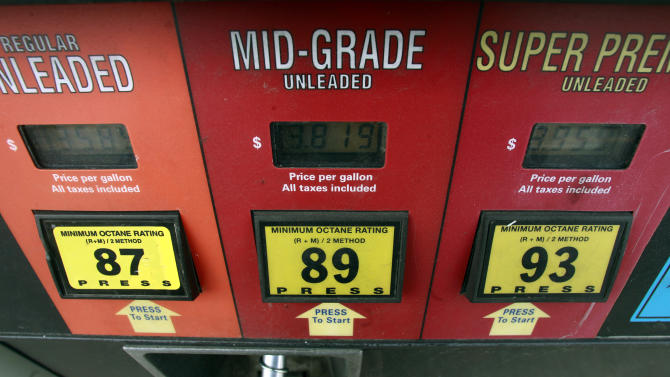 FILE - This Friday, Sept. 27, 2013, file photo, shows a gas pump in Montpelier, Vt. The nationwide average price for a gallon of gas fell a penny Friday, Nov. 8, 2013, to $3.21. That's the lowest average price since December 2011. (AP Photo/Toby Talbot, File)