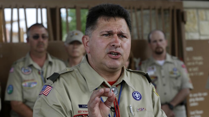 John Stemberger, an Eagle Scout and Orlando, Fla. based attorney speaks out during a news conference against the Boy Scouts of American decision allowing openly gay scouts to participate in scouting Thursday, May 23, 2013, in Grapevine, Texas. Local leaders of the Boy Scouts of America voted Thursday to ease a divisive ban and allow openly gay boys to be accepted into the nation's leading youth organization — one of the most dramatic moves the organization has made in a century. (AP Photo/Tony Gutierrez)
