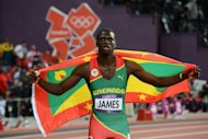 Grenada&#39;s Kirani James celebrates after winning the 400m final at the athletics event of the London 2012 Olympic Games, on August 6. Jubilation erupted across Grenada when James earned the tiny island its first ever Olympic medal