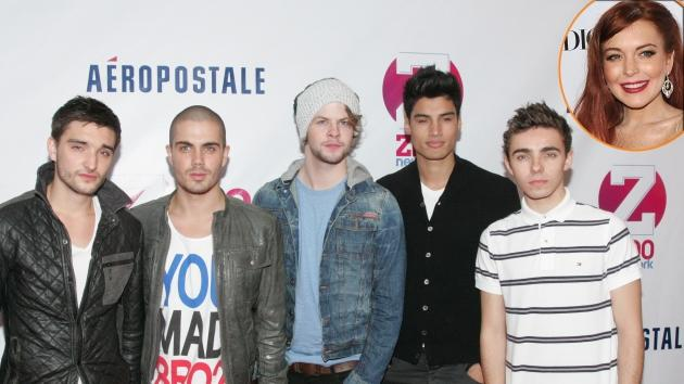 Tom Parker, Max George, Jay McGuiness, Siva Kaneswaran, and Nathan Sykes of The Wanted attend Z100's Jingle Ball 2012, presented by Aeropostale, at Madison Square Garden on December 7, 2012 in New York City; inset: Lindsay Lohan -- Getty Images