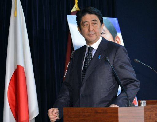 <p>Japan's main opposition Liberal Democratic Party (LDP) leader Shinzo Abe, pictured during a press conference at the party headquarters in Tokyo, on November 16. Opinion polls published on Monday showed LDP out in front, days after Prime Minister Yoshihiko Noda set the country on the path to a general election.</p>