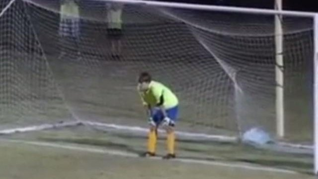Keeper makes penalty save, allows ball to roll in