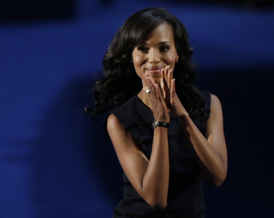 Actress Kerry Washington applauds after speaking to delegates at the Democratic National Convention in Charlotte, N.C., on Thursday, Sept. 6, 2012. (AP Photo/Lynne Sladky)