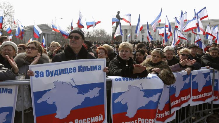 Pro-Russian supporters attend a rally in Simferopol