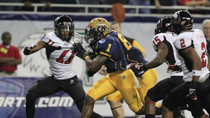 Kent State running back Dri Archer (1) crosses the goal line for a touchdown during the first quarter of the Mid-American Conference championship NCAA college football game against Northern Illinois, Friday, Nov. 30, 2012. (AP Photo/Carlos Osorio)