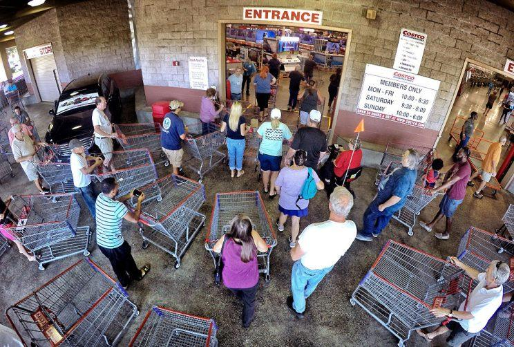 Shoppers crowd the entrance to the Costco store on Oct. 5, 2016 in Altamonte Springs, Fla,. as central Floridians prepare for the anticipated strike of Hurricane Matthew. (Joe Burbank/Orlando Sentinel/TNS via Getty Images)