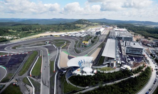 An aerial view shows the race track of the newly refurbished Nuerburgring in Nuerburg, western Germany on July 9, 2009. The Formula one Grand Prix of Europe takes place at the Nuerburgring on July 12, 2009. AFP PHOTO / SASCHA SCHUERMANN