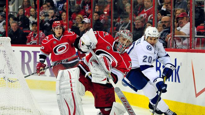 Cam Ward #30 Of The Carolina Hurricanes Slaps Getty Images