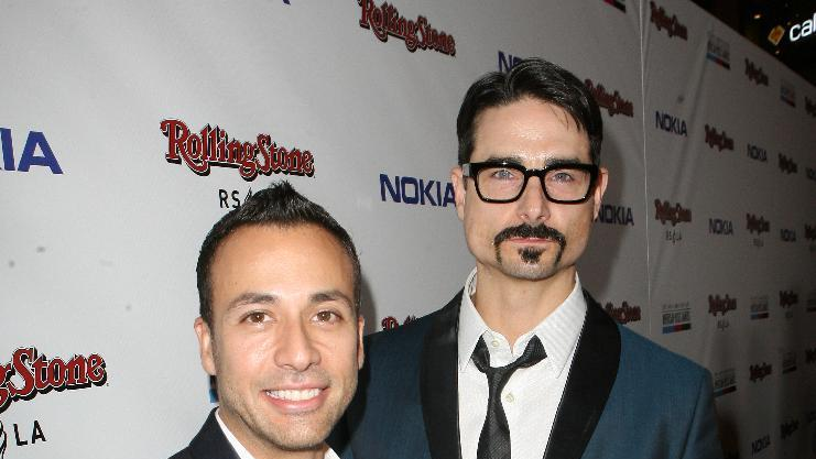 Howie Dorough, left, and Kevin Richardson arrive at the Rolling Stone American Music Awards After Party, on Sunday, Nov. 18, 2012 in Los Angeles. (Photo by Casey Rodgers/Invision for Nokia/AP Images) **Please include any additional event details in the second sentence of the caption.