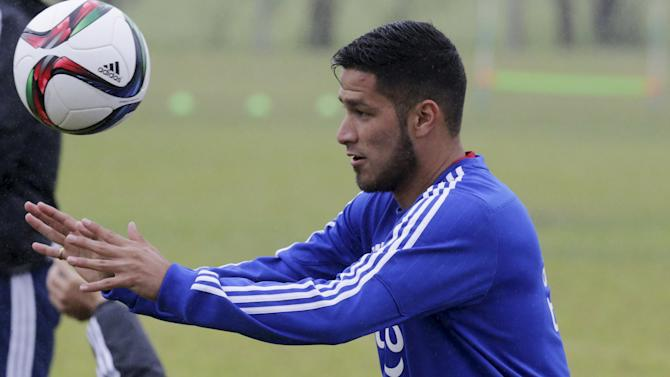 Paraguay's national soccer team player Bruno Valdez attend a training session in Ypane