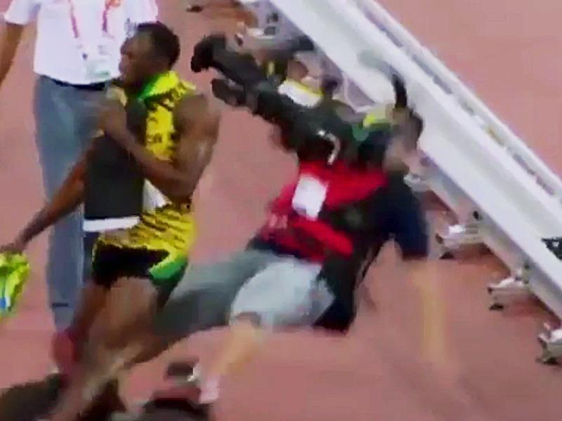 A guy on a segway ran over Usain Bolt after he won the 200 meters at the World Championships