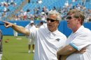 FILE - In This Aug. 4, 2012 File Photo, Carolina Panthers&#039; Team President Danny Morrison, Left, Talks With General Manager Marty Hurney During The NFL Carolina Panthers&#039; Fan Fest Football Practice In Charlotte, N.C. The Panthers Fired Hurney Monday, Oct. 22, 2012 Following The Team&#039;s 1-5 Start This Season. (AP Photo/Bob Leverone, File)
