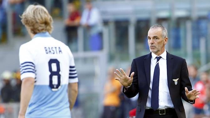 Lazio's coach Pioli gestures during their Serie A soccer match against AS Roma at the Olympic stadium in Rome