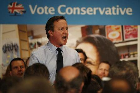Britiain's Prime Minister David Cameron, gives a speech during an election campaign visit to the Institute of Chartered Accountants in London, England