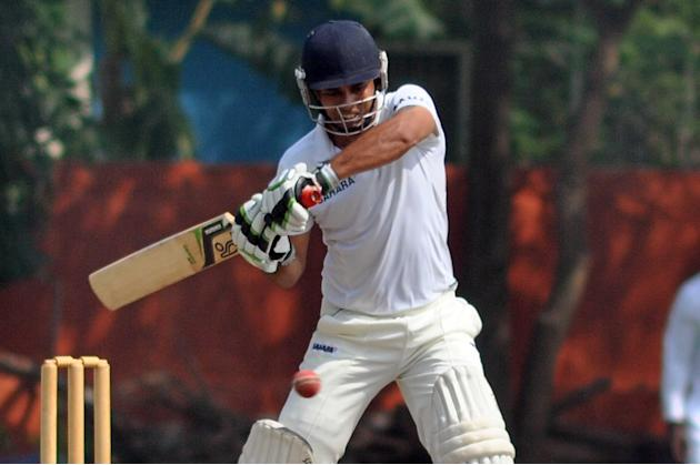 Uttar Pradesh batsman Parvinder Singh in action as he scored 100 during day three of practice match between West Indies and Uttar Pradesh Cricket Association XI at the Jadavpur University Ground in Ko