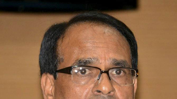 Shivraj Singh Chouhan, Chief Minister of Madhya Pradesh state, speaks during a news conference in Bhopal