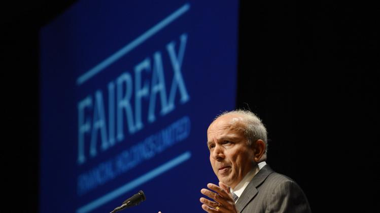 File photo of Fairfax Financial Holdings Ltd. Chairman and CEO Watsa speaking during the company's annual meeting in Toronto