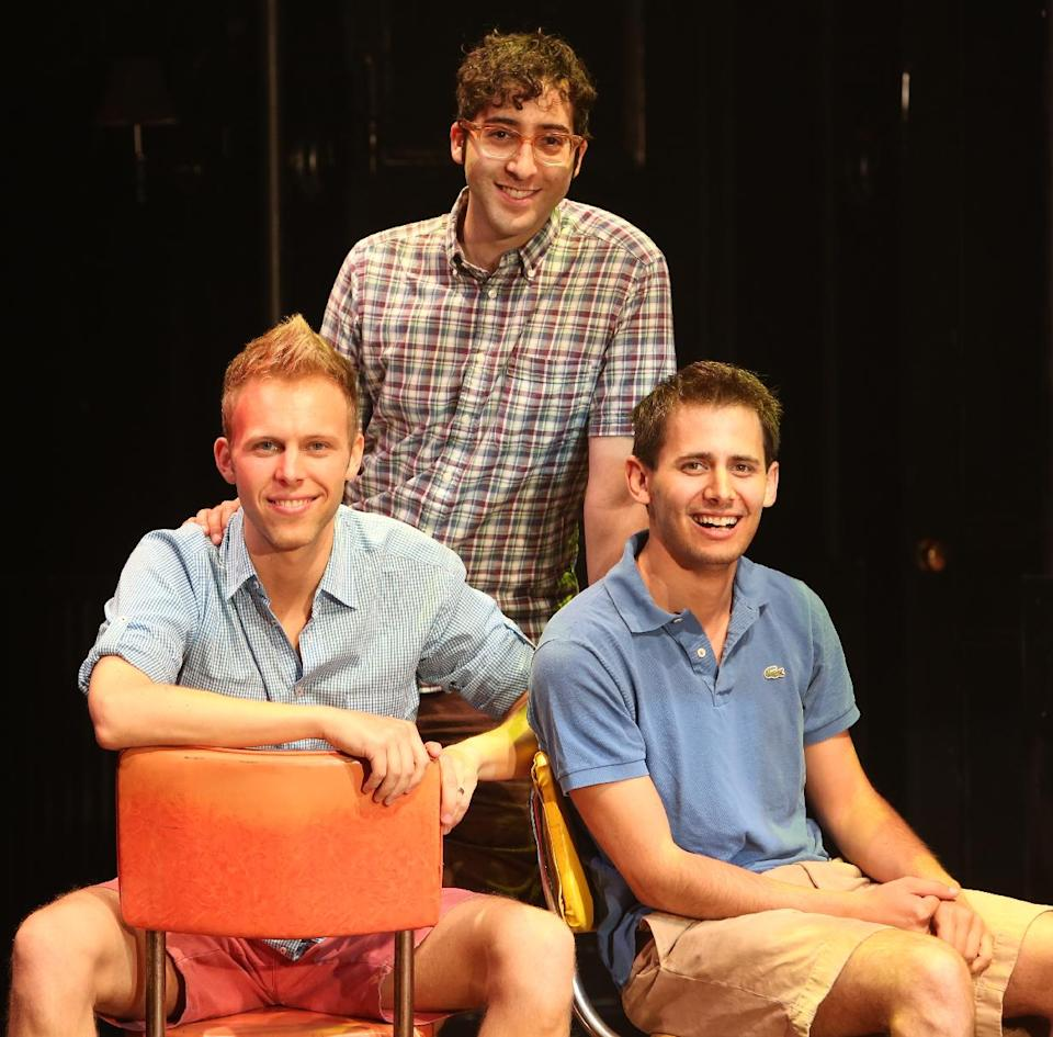 "This undated theater image released by The Hartman Group shows, from left, Justin Paul, Peter Duchan and Benj Pasek, creators of the stage musical ""Dogfight,"" in New York. (AP Photo/The Hartman Group, Joan Marcus)"