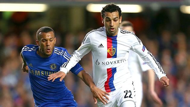 Basel's Mohamed Salah dribbles past Chelsea's Ryan Bertrand (PA Photos)