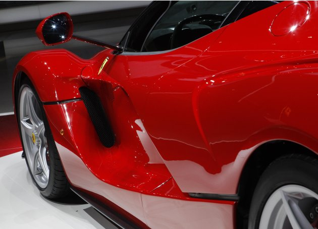 The new LaFerrari hybrid car is pictured on the Ferrari stand during the first media day of the 83rd Geneva Car Show at the Palexpo Arena in Geneva