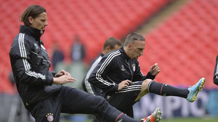Bayern Munich's Franck Ribery of France in action during their training session at Wembley Stadium in London, Friday May 24, 2013. Dortmund will face fellow German soccer team Bayern Munich in the final of the Champions League at Wembley Stadium on Saturday. (AP Photo/Martin Meissner)