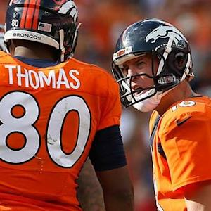 Denver Broncos quarterback Peyton Manning yells at tight end Julius Thomas