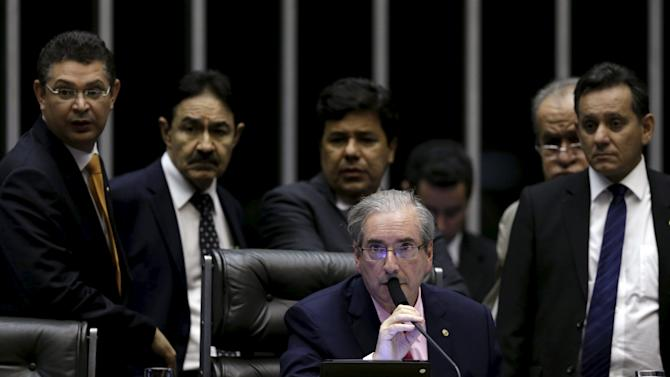 President of the Chamber of Deputies deputy Cunha participates in a session of the chamber in Brasilia