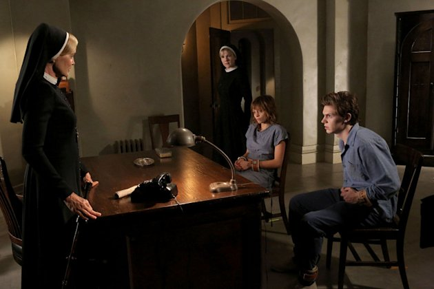 "Jessica Lange as Sister Jude, Lily Rabe as Sister Mary Eunice, Lizzie Brochere as Grace and Evan Peters as Kit in the ""American Horror Story: Asylum"" episode, ""I Am Anne Frank."""